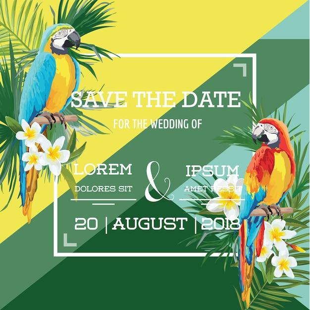 Tropikalne kwiaty i papuga letnia karta ślubna, zapisz datę, egzotyczne zaproszenie w kwiaty