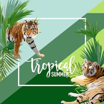 Tropikalne kwiaty i transparent lato tygrysa, tło graficzne, egzotyczne zaproszenie kwiatowy, ulotki lub karty. nowoczesna strona frontowa