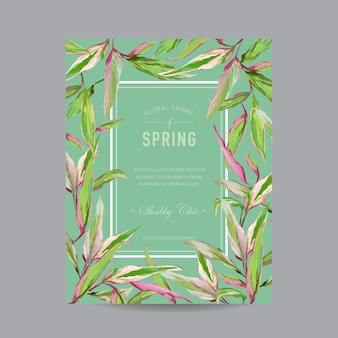 Tropikalne kwiaty kolorowe ramki - na zaproszenie, ślub, kartka na baby shower