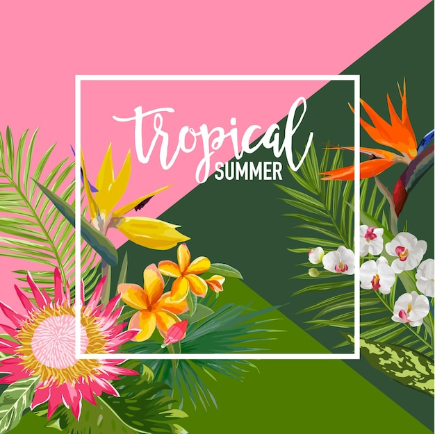 Tropikalne kwiaty lato transparent, tło graficzne, egzotyczne zaproszenie kwiatowy, ulotki lub karty. nowoczesna strona frontowa