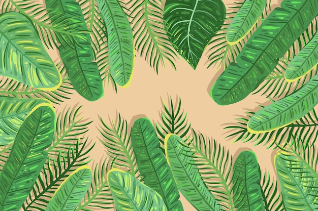 Tropikalne kwiaty / liście - tło do powiększenia