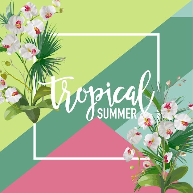 Tropikalne kwiaty orchidei lato transparent, tło graficzne, egzotyczne zaproszenie kwiatowy, ulotki lub karty. nowoczesna strona frontowa