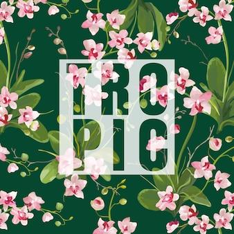 Tropikalne kwiaty orchidei tło. graficzny projekt koszulki w