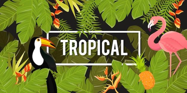 Tropikalne kwiaty tła. letni projekt. wektor.