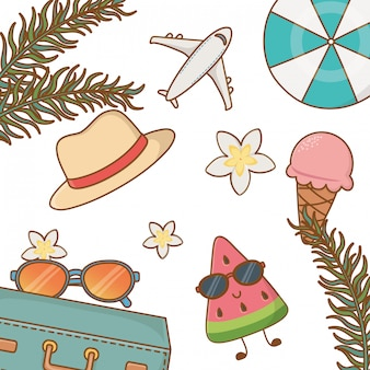 Tropikalne lato elementy stylu cartoon