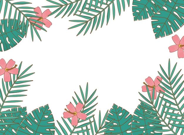 Tropikalne lato rama tło z bajkami