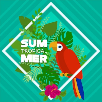 Tropikalne lato z papugą i kwiatową naturą