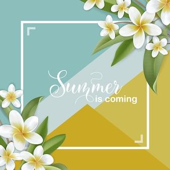 Tropikalne letnie kwiaty projekt graficzny z botanicznymi kwiatami plumeria na t-shirt, nadruki modowe, karty, banery, plakaty, projekt szablonu w wektorze