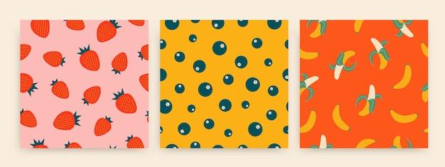 Tropikalne letnie owoce wzór truskawki jagody i banany ilustracji wektorowych