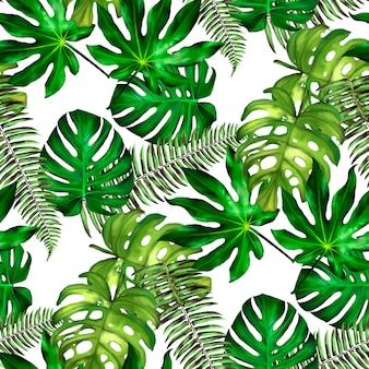 Tropikalne liście. bezszwowy kwiecisty wzór.