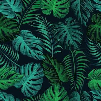 Tropikalne liście, dżungla pozostawia bez szwu kwiatowy wzór