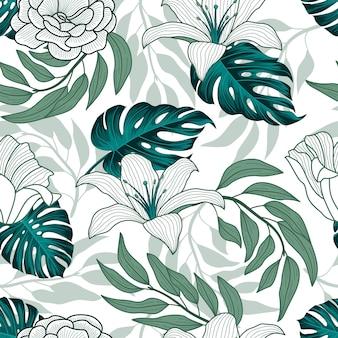 Tropikalne liście, dżungla pozostawia wzór