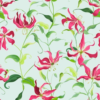 Tropikalne liście i kwiatowy tło