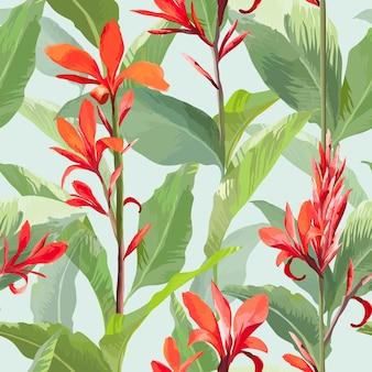 Tropikalne liście i kwiaty w tle. wzór w