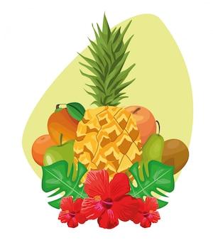 Tropikalne liście i kwiaty z tropikalnymi owocami