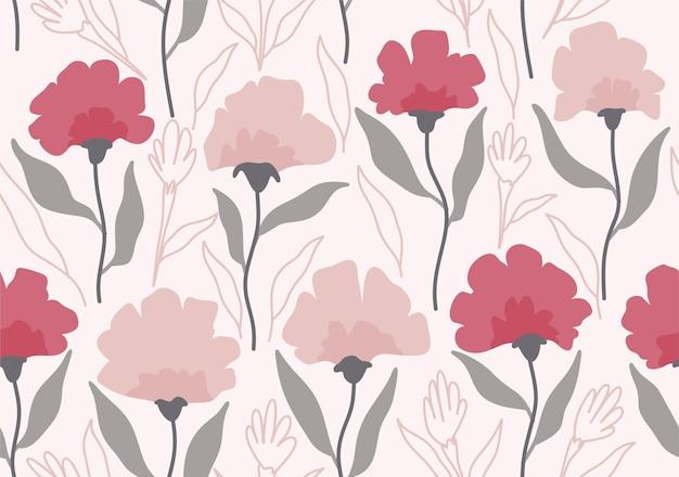 Tropikalne liście i wzór kwiatowy