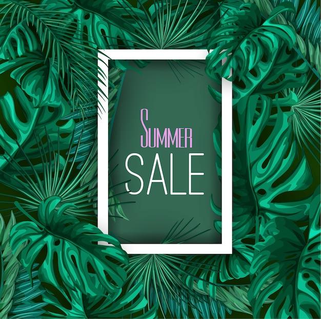Tropikalne liście lato sprzedaż transparent tło plakatu szablon. dżungla las palmowy monstera kwiatowy egzotyczna roślina aloha hawaii ramka botaniczna. vintage retro wiosna ilustracja układ strony plaży