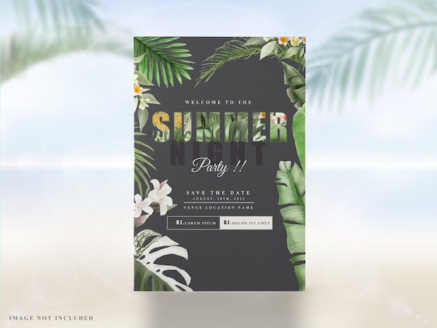 Tropikalne liście letnie zaproszenia na przyjęcie