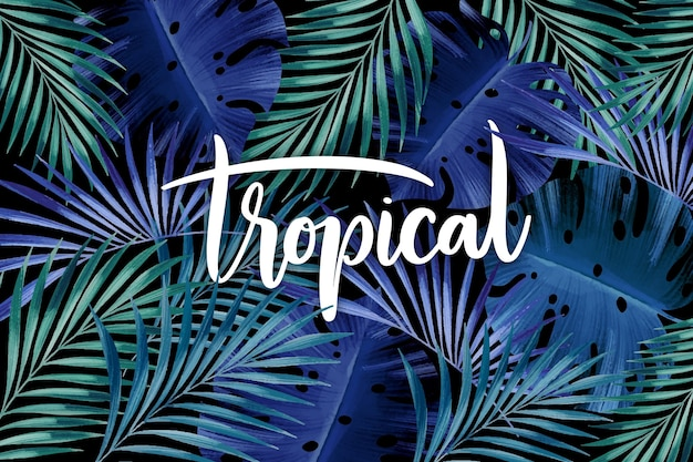 Tropikalne liście napis w niebieskich odcieniach