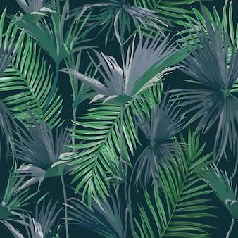 Tropikalne liście palmowe dżungli bezszwowe tło, ilustracja wektorowa kwiatowy wzór na tapetę, projekt nadruku, szablon tekstylny