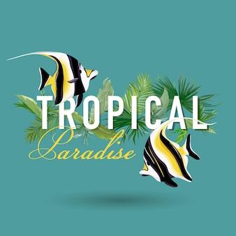 Tropikalne liście palmowe i egzotyczna grafika na koszulkę, modę, nadruki