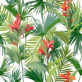 Tropikalne liście palmowe i kwiaty, liście dżungli bez szwu kwiatowy wzór tła floral
