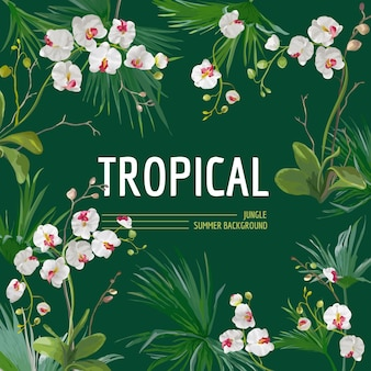 Tropikalne liście palmowe i tło kwiaty orchidei. graficzny projekt koszulki w