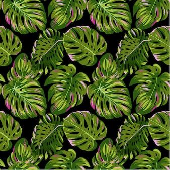 Tropikalne liście palmowe wzór. akwarela kwiatowy tło. egzotyczny projekt botaniczny do tkanin, tekstyliów, tapet, papieru do pakowania. ilustracja wektorowa