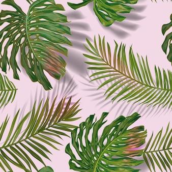 Tropikalne liście palmowe wzór. dżungli tle kwiatów. letnie egzotyczne botaniczne liście z roślinami tropikalnymi do tkanin, modnych tekstyliów, tapet. ilustracja wektorowa
