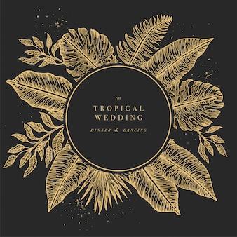 Tropikalne liście palmowe. zaproszenie na ślub okrągłe dżungli. szablon. ilustracja