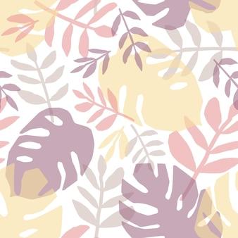 Tropikalne Liście Ręcznie Rysowane Wzór. Dżungla, Flora Lasów Deszczowych Płaskie Tło Premium Wektorów