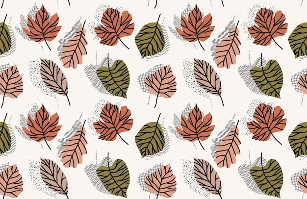Tropikalne liście ręcznie rysowane wzór.
