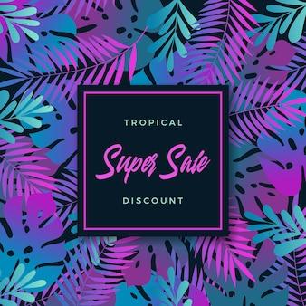 Tropikalne liście streszczenie transparent lub szablon zaproszenia