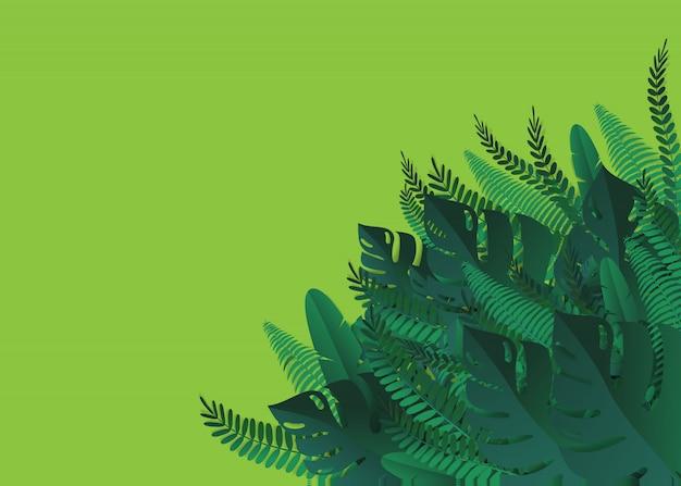 Tropikalne liście. styl cięcia papieru