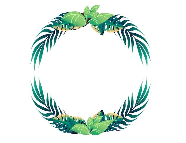 Tropikalne liście w koło kwiatowy wzór rama koncepcja płaskie wektor ilustracja na białym tle.