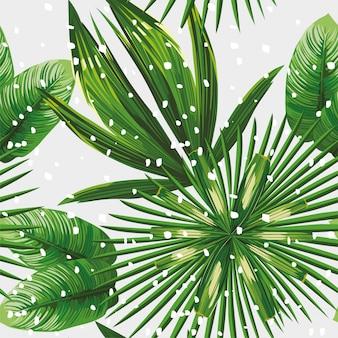 Tropikalne liście wzór śniegu