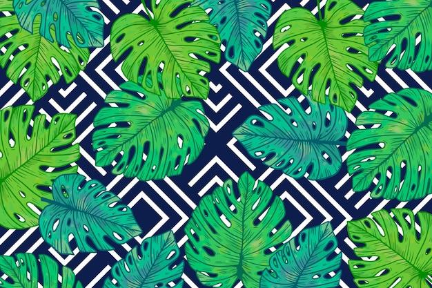 Tropikalne liście z geometrycznym tłem