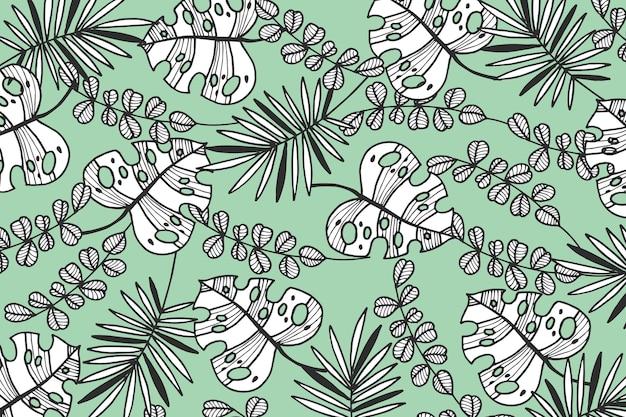 Tropikalne liście z tapetą w pastelowym kolorze