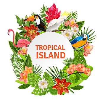 Tropikalne mewy i kwiaty
