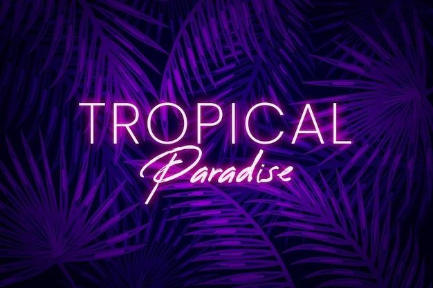 Tropikalne neonowe litery z liśćmi