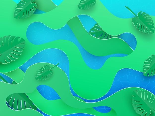 Tropikalne papierowe liście monstery