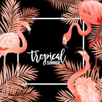 Tropikalne ptaki flamingo i złote liście palmowe lato transparent, tło graficzne, egzotyczne zaproszenie kwiatowy, ulotki lub karty. nowoczesna strona frontowa w vector