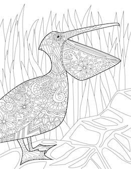 Tropikalne ptaki gryzmoły na drzewach rysunek odręczny pelikan obraz linii flamingo ilustracja drzewa dzikie