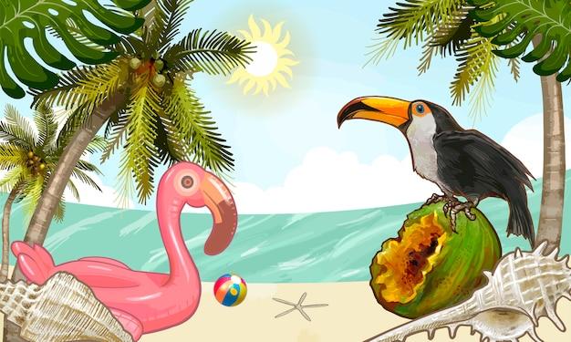 Tropikalne rośliny i owoc tło