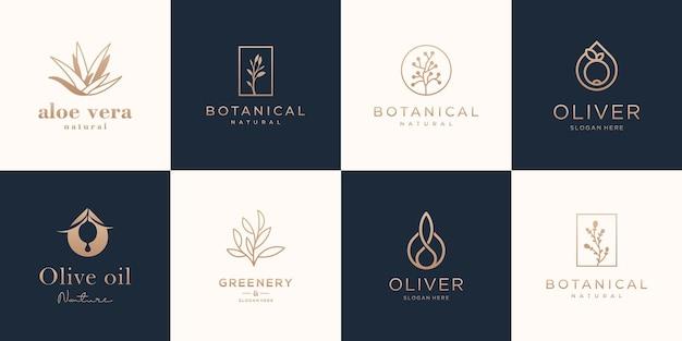 Tropikalne rośliny, liście i gałęzie z kwiatami, zestaw elementów o złotym kolorze.