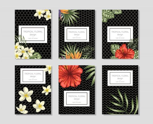 Tropikalne szablony kwiatów z ręcznie rysowane kiści plumeria, hibiskus, monstera.
