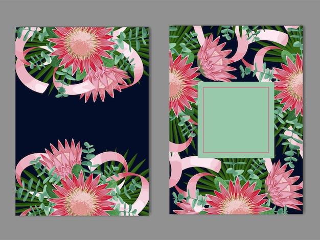 Tropikalne szablony z kwiatami, liśćmi i wstążkami