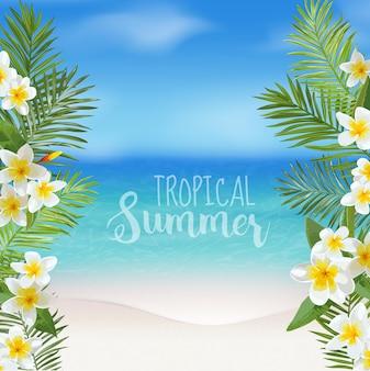 Tropikalne tło. liście palmowe