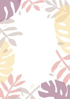 Tropikalne tło lub tło ozdobione kolorowymi półprzezroczystymi liśćmi roślin dżungli