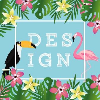 Tropikalne tło z tukan, flamingo i liści zwrotnik